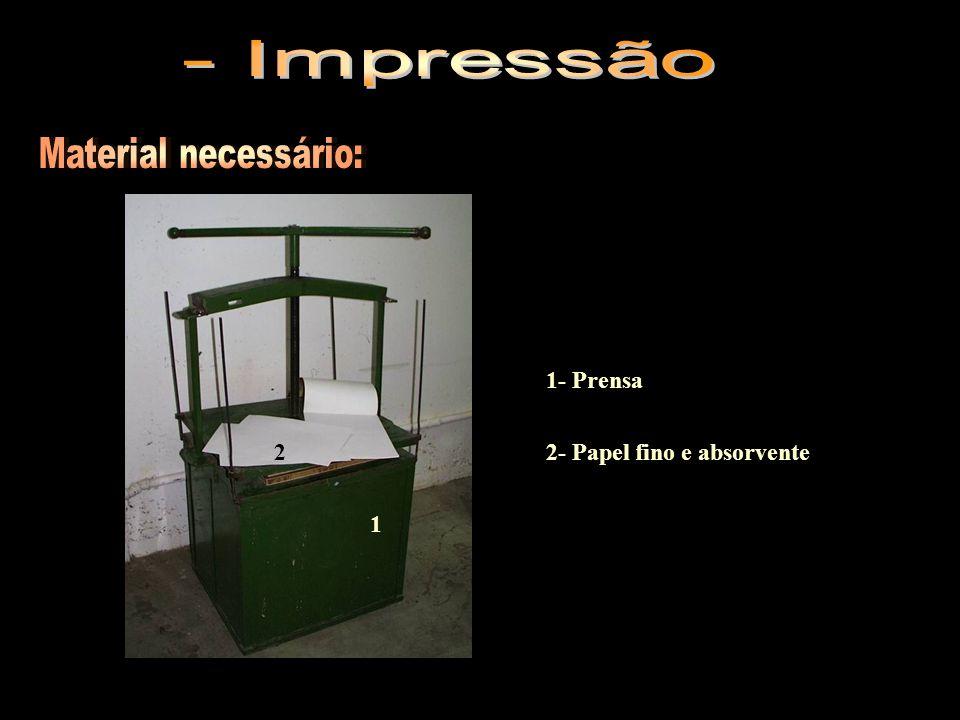 1- Prensa 2- Papel fino e absorvente 1 2