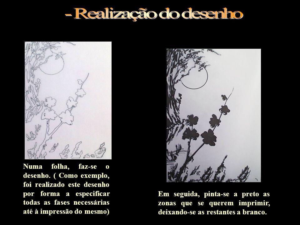 Numa folha, faz-se o desenho. ( Como exemplo, foi realizado este desenho por forma a especificar todas as fases necessárias até à impressão do mesmo)