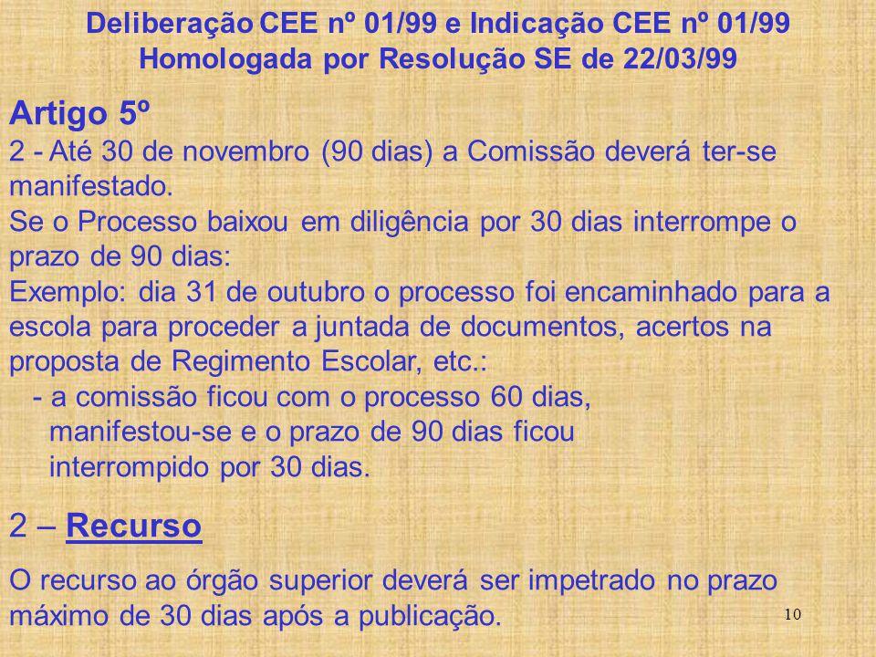 10 Artigo 5º 2 - Até 30 de novembro (90 dias) a Comissão deverá ter-se manifestado. Se o Processo baixou em diligência por 30 dias interrompe o prazo