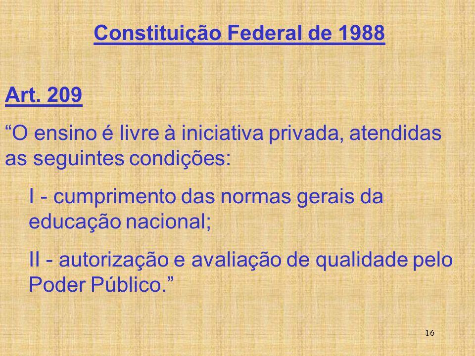 """16 Art. 209 """"O ensino é livre à iniciativa privada, atendidas as seguintes condições: I - cumprimento das normas gerais da educação nacional; II - aut"""