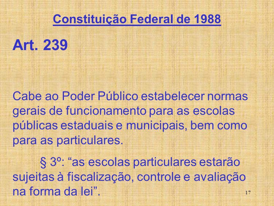 17 Art. 239 Cabe ao Poder Público estabelecer normas gerais de funcionamento para as escolas públicas estaduais e municipais, bem como para as particu