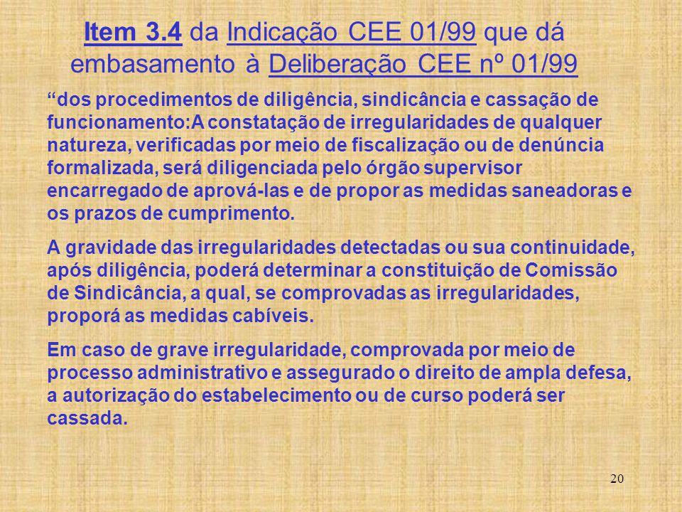 """20 Item 3.4 da Indicação CEE 01/99 que dá embasamento à Deliberação CEE nº 01/99 """"dos procedimentos de diligência, sindicância e cassação de funcionam"""
