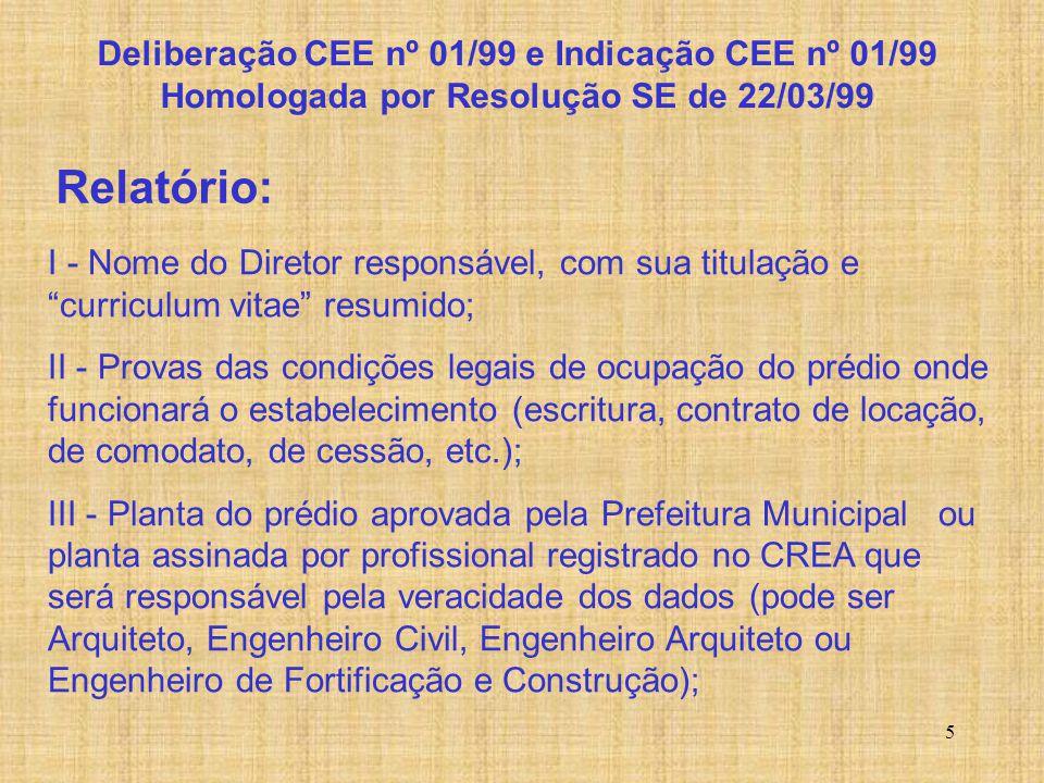 """5 Relatório: I - Nome do Diretor responsável, com sua titulação e """"curriculum vitae"""" resumido; II - Provas das condições legais de ocupação do prédio"""