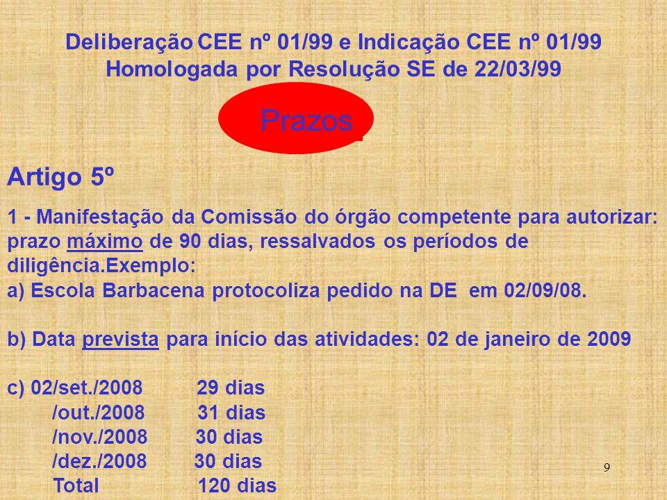 9 Prazos Artigo 5º 1 - Manifestação da Comissão do órgão competente para autorizar: prazo máximo de 90 dias, ressalvados os períodos de diligência.Exe