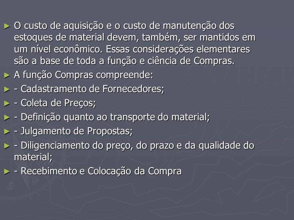 ► O custo de aquisição e o custo de manutenção dos estoques de material devem, também, ser mantidos em um nível econômico.
