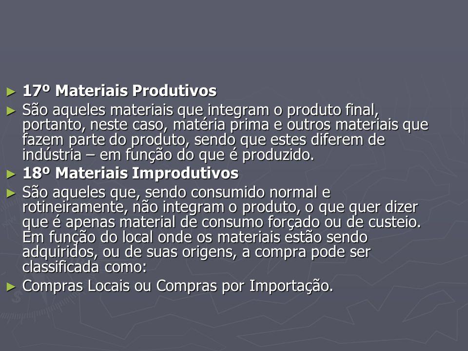 ► 17º Materiais Produtivos ► São aqueles materiais que integram o produto final, portanto, neste caso, matéria prima e outros materiais que fazem parte do produto, sendo que estes diferem de indústria – em função do que é produzido.