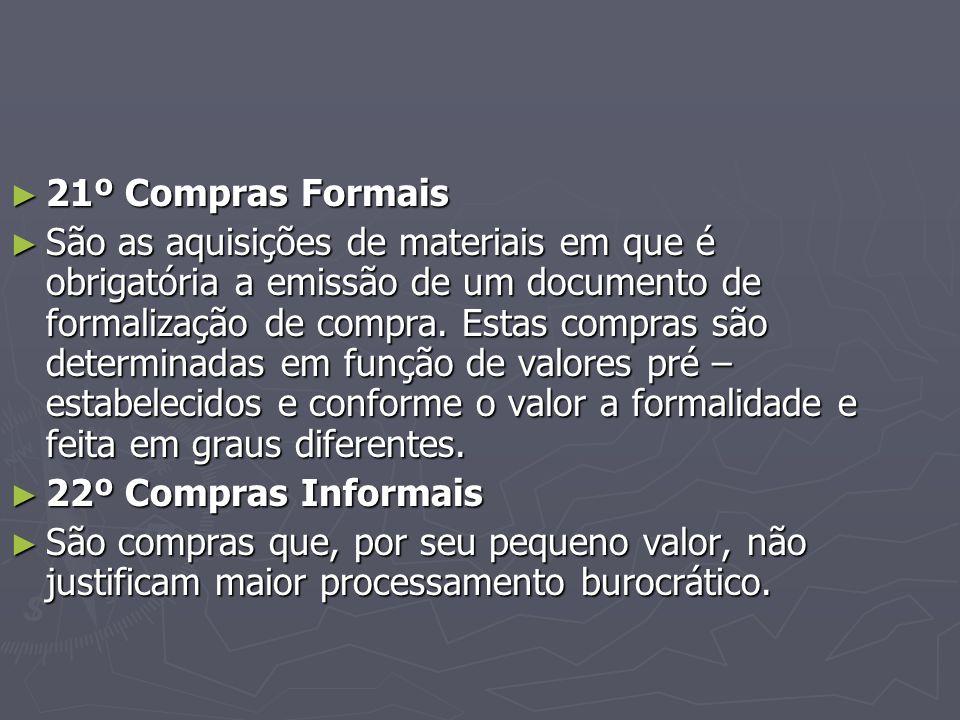 ► 21º Compras Formais ► São as aquisições de materiais em que é obrigatória a emissão de um documento de formalização de compra.