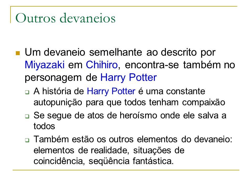 Outros devaneios Um devaneio semelhante ao descrito por Miyazaki em Chihiro, encontra-se também no personagem de Harry Potter  A história de Harry Po