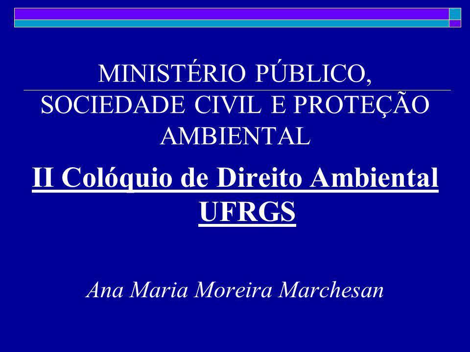 II Colóquio de Direito Ambiental UFRGS Ana Maria Moreira Marchesan MINISTÉRIO PÚBLICO, SOCIEDADE CIVIL E PROTEÇÃO AMBIENTAL
