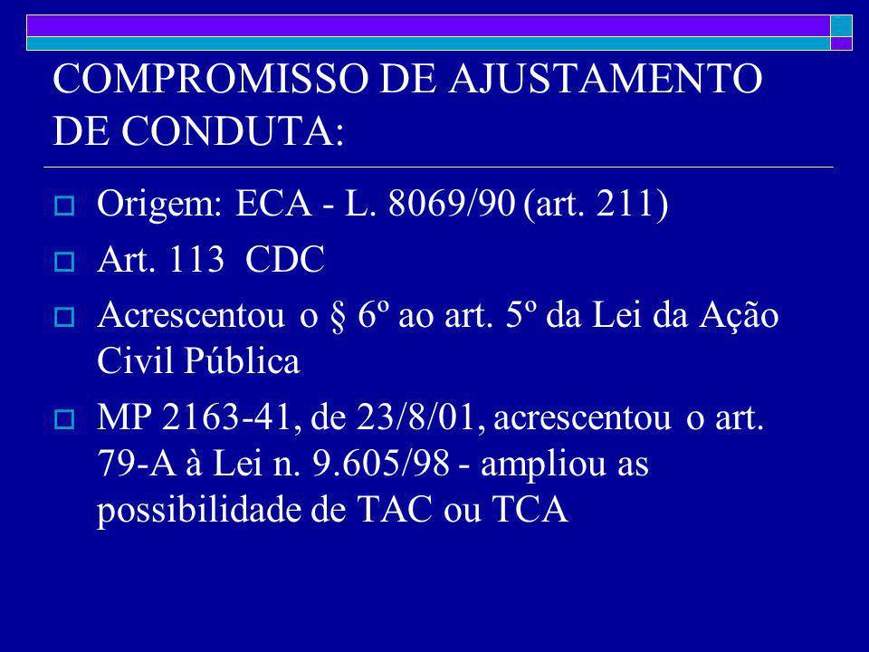 COMPROMISSO DE AJUSTAMENTO DE CONDUTA:  Origem: ECA - L.