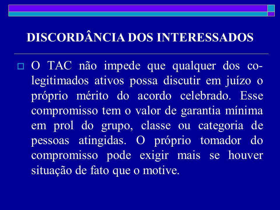 DISCORDÂNCIA DOS INTERESSADOS  O TAC não impede que qualquer dos co- legitimados ativos possa discutir em juízo o próprio mérito do acordo celebrado.