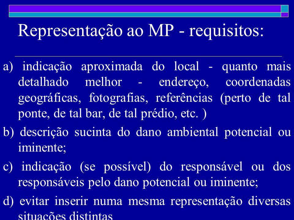 Representação ao MP - requisitos: a) indicação aproximada do local - quanto mais detalhado melhor - endereço, coordenadas geográficas, fotografias, referências (perto de tal ponte, de tal bar, de tal prédio, etc.