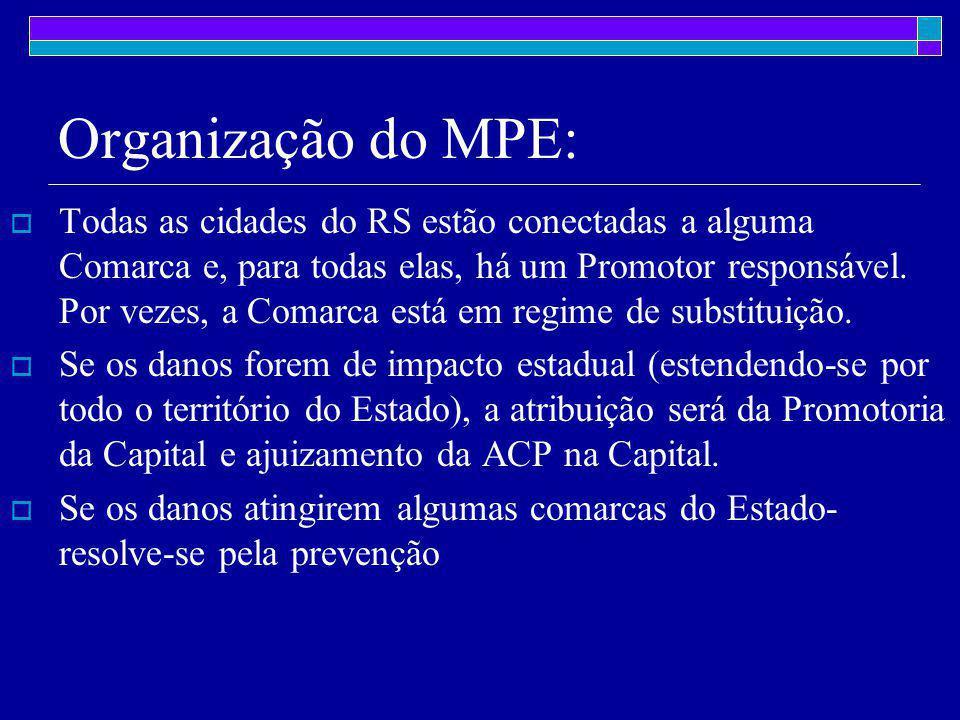 Organização do MPE:  Todas as cidades do RS estão conectadas a alguma Comarca e, para todas elas, há um Promotor responsável.