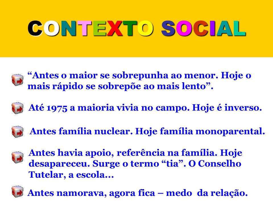 """CONTEXTO SOCIALCONTEXTO SOCIALCONTEXTO SOCIALCONTEXTO SOCIAL """"Antes o maior se sobrepunha ao menor. Hoje o mais rápido se sobrepõe ao mais lento"""". Até"""