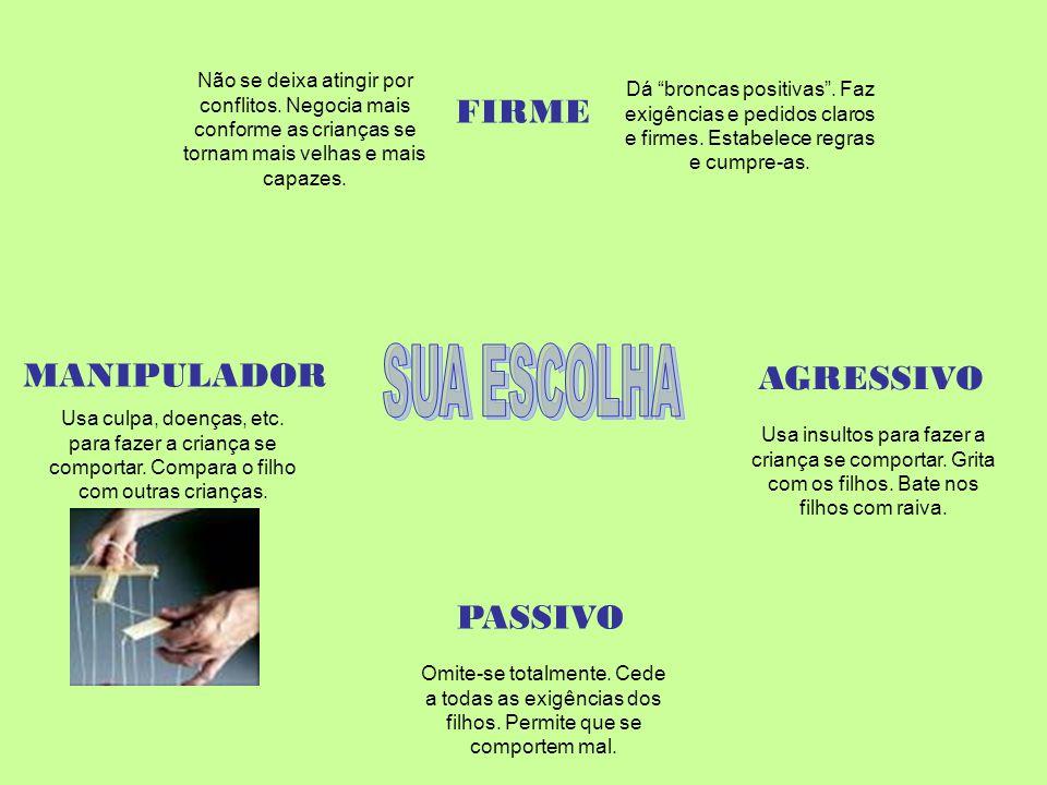 FIRME AGRESSIVO MANIPULADOR PASSIVO Usa culpa, doenças, etc. para fazer a criança se comportar. Compara o filho com outras crianças. Não se deixa atin