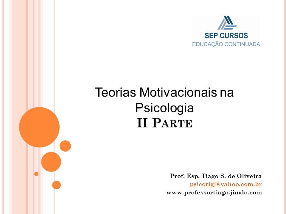 Teorias Motivacionais na Psicologia II P ARTE Prof. Esp. Tiago S. de Oliveira psicotigl@yahoo.com.br www.professortiago.jimdo.com