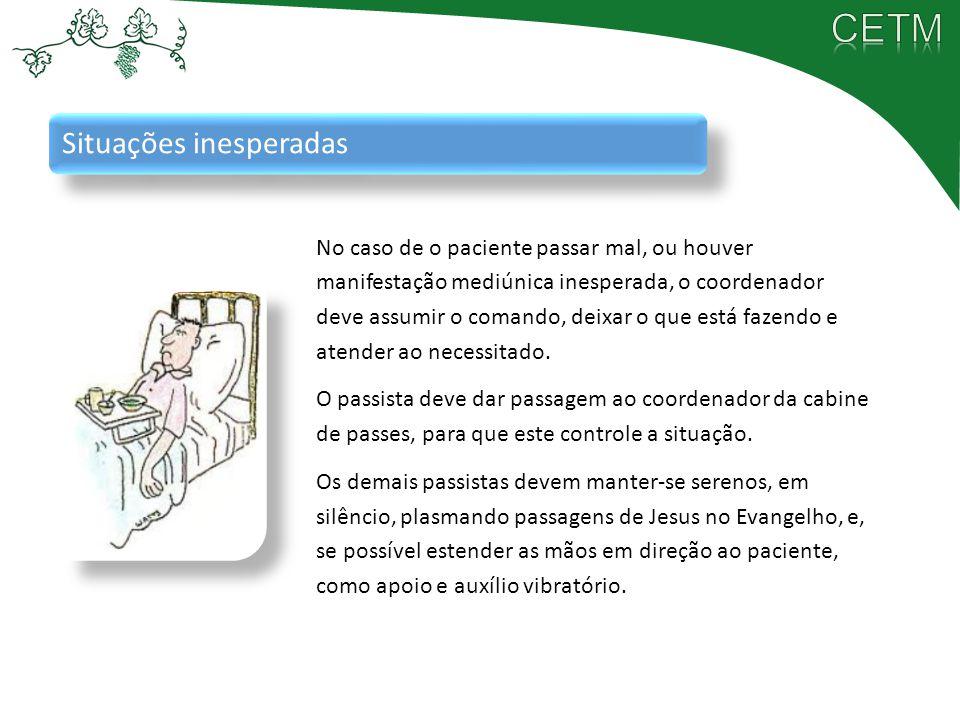 Situações inesperadas No caso de o paciente passar mal, ou houver manifestação mediúnica inesperada, o coordenador deve assumir o comando, deixar o qu