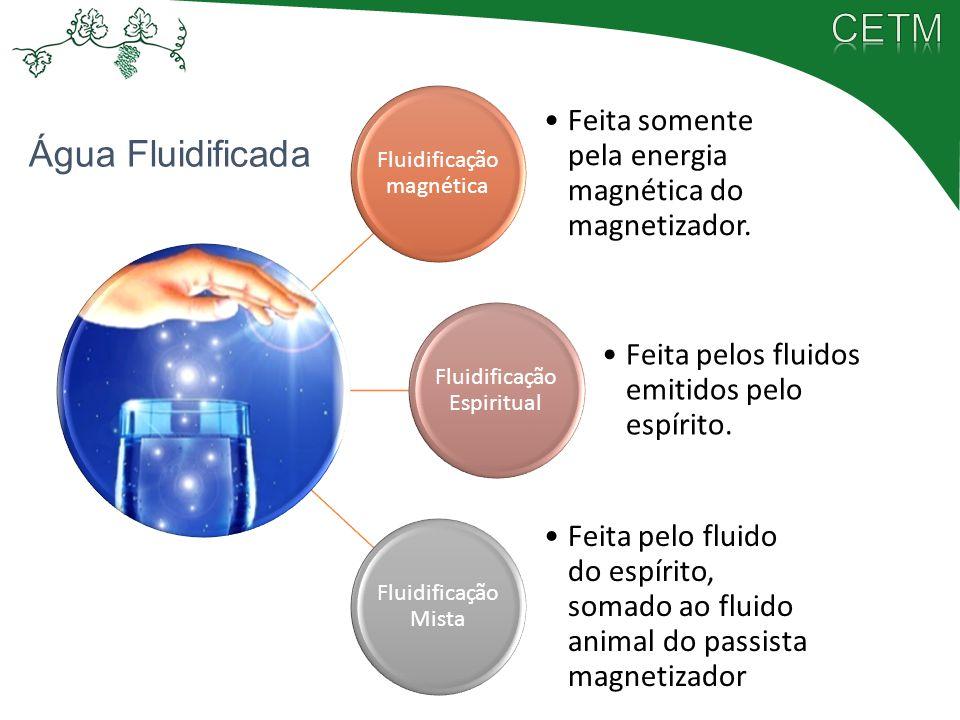 Fluidificação magnética Feita somente pela energia magnética do magnetizador. Fluidificação Espiritual Feita pelos fluidos emitidos pelo espírito. Flu