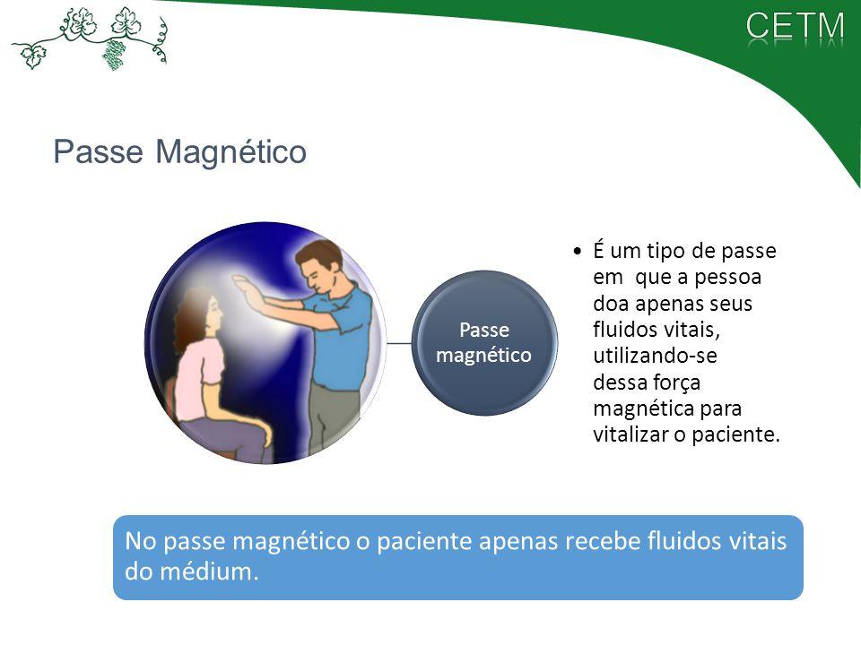 Passe Magnético Passe magnético É um tipo de passe em que a pessoa doa apenas seus fluidos vitais, utilizando-se dessa força magnética para vitalizar