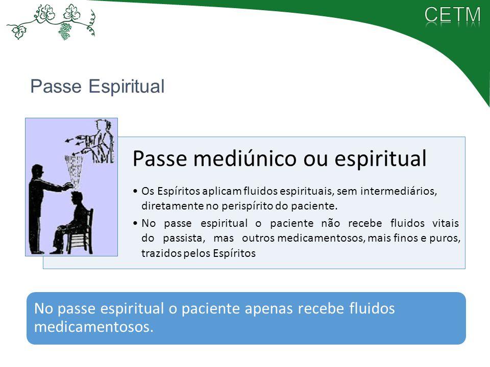 Passe Espiritual Passe mediúnico ou espiritual Os Espíritos aplicam fluidos espirituais, sem intermediários, diretamente no perispírito do paciente. N