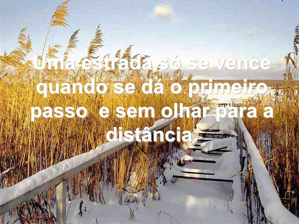 Uma estrada só se vence quando se dá o primeiro passo e sem olhar para a distância.