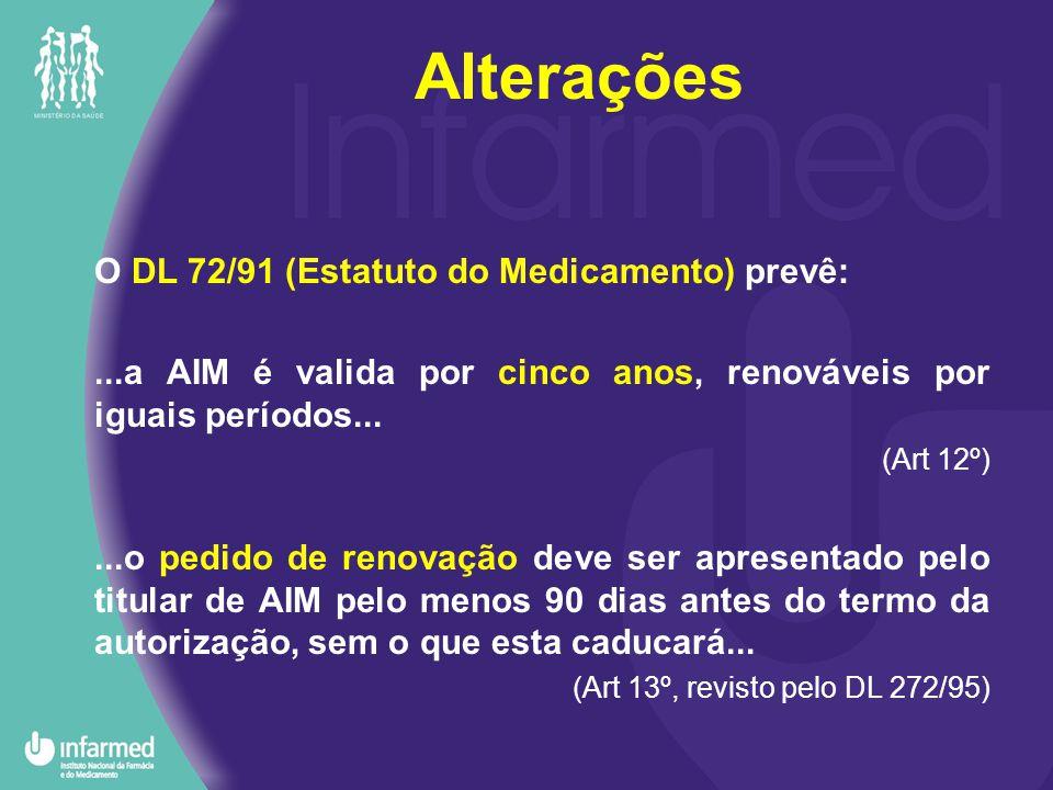 Alterações O DL 72/91 (Estatuto do Medicamento) prevê:...a AIM é valida por cinco anos, renováveis por iguais períodos...
