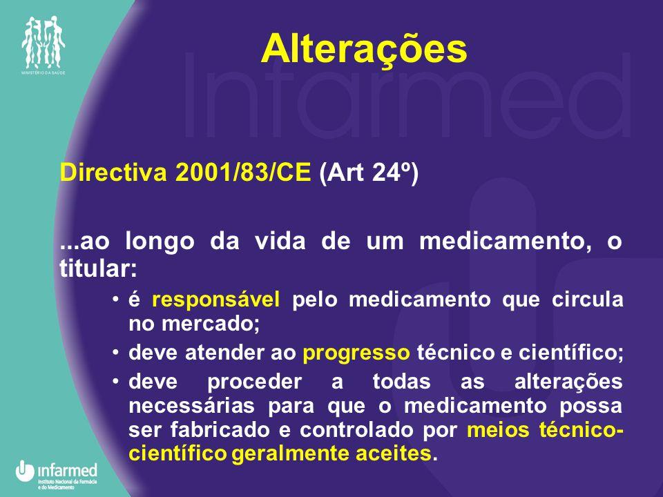 Directiva 2001/83/CE (Art 24º)...ao longo da vida de um medicamento, o titular: é responsável pelo medicamento que circula no mercado; deve atender ao progresso técnico e científico; deve proceder a todas as alterações necessárias para que o medicamento possa ser fabricado e controlado por meios técnico- científico geralmente aceites.