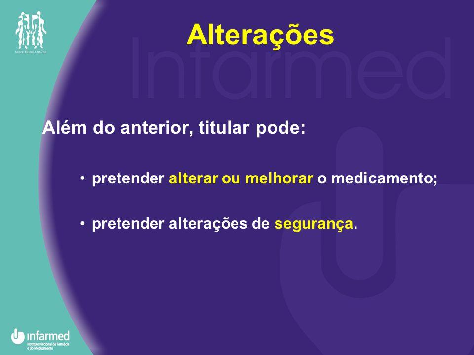 Além do anterior, titular pode: pretender alterar ou melhorar o medicamento; pretender alterações de segurança.