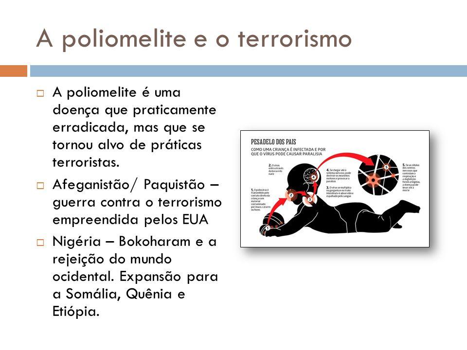 A poliomelite e o terrorismo  A poliomelite é uma doença que praticamente erradicada, mas que se tornou alvo de práticas terroristas.  Afeganistão/