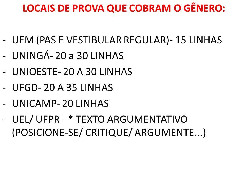 LOCAIS DE PROVA QUE COBRAM O GÊNERO: -UEM (PAS E VESTIBULAR REGULAR)- 15 LINHAS -UNINGÁ- 20 a 30 LINHAS -UNIOESTE- 20 A 30 LINHAS -UFGD- 20 A 35 LINHA