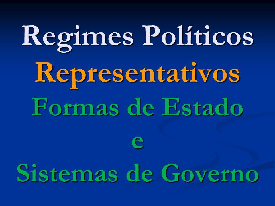 Regimes Políticos Representativos Formas de Estado e Sistemas de Governo