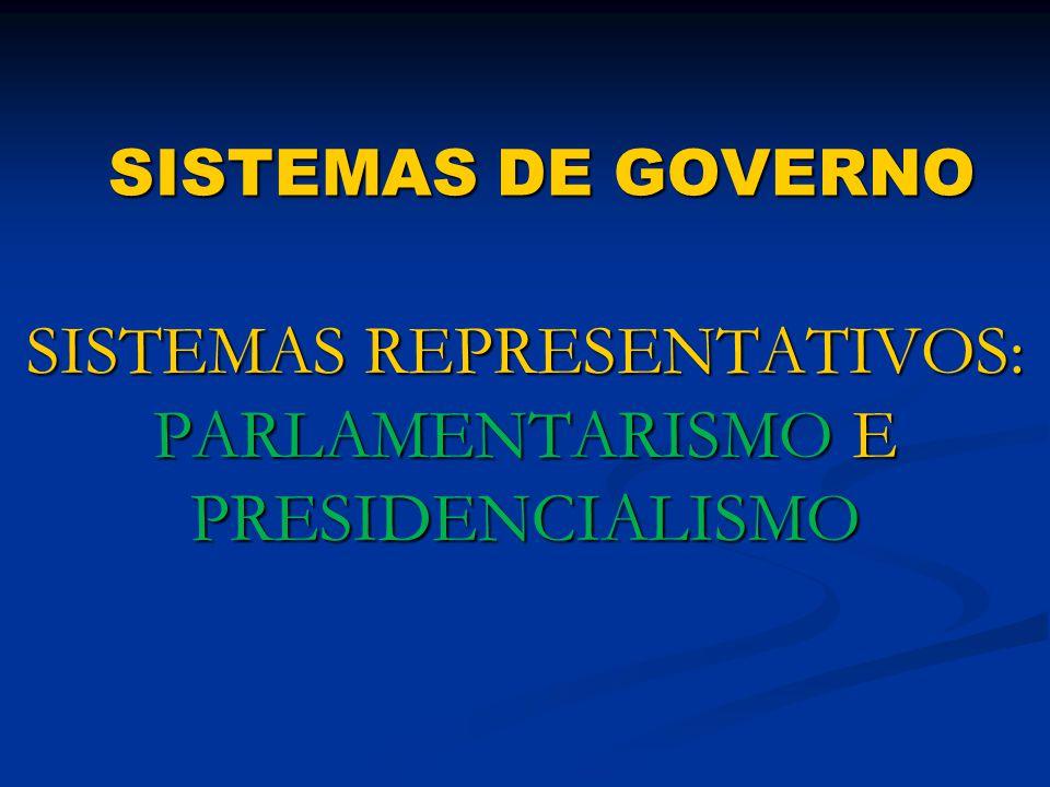 SISTEMAS DE GOVERNO SISTEMAS REPRESENTATIVOS: PARLAMENTARISMO E PRESIDENCIALISMO