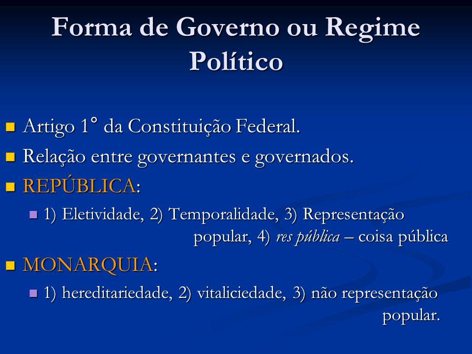 Forma de Governo ou Regime Político Artigo 1° da Constituição Federal.