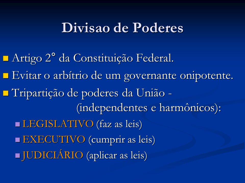 Divisao de Poderes Artigo 2° da Constituição Federal.