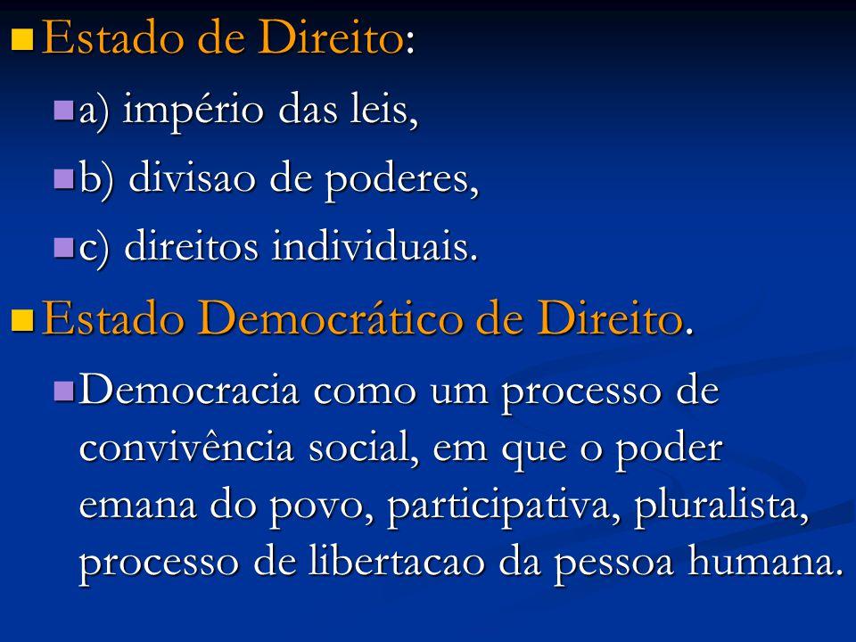 Estado de Direito: Estado de Direito: a) império das leis, a) império das leis, b) divisao de poderes, b) divisao de poderes, c) direitos individuais.
