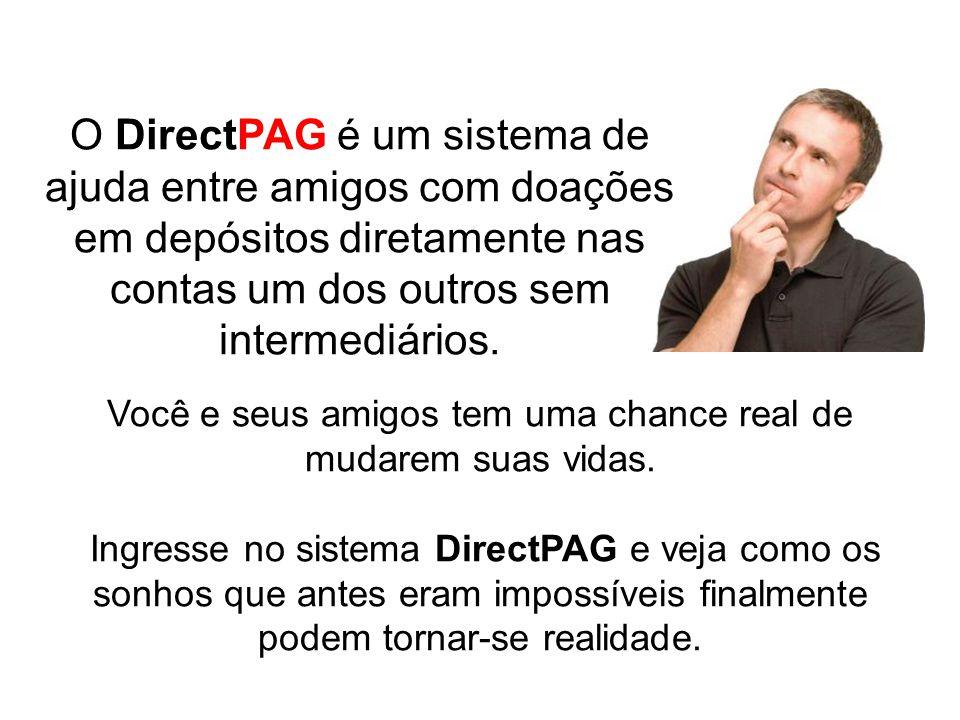 O DirectPAG é um sistema de ajuda entre amigos com doações em depósitos diretamente nas contas um dos outros sem intermediários. Você e seus amigos te