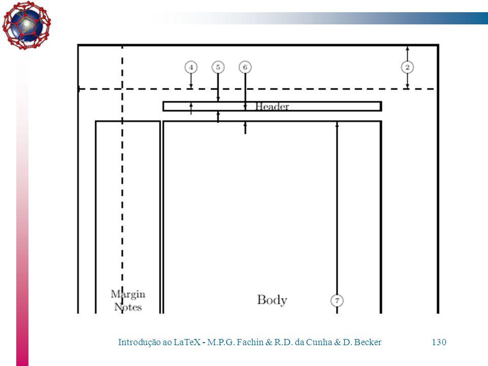 Introdução ao LaTeX - M.P.G. Fachin & R.D. da Cunha & D. Becker129 Personalizando documentos As margens podem ser especificadas através dos comandos:
