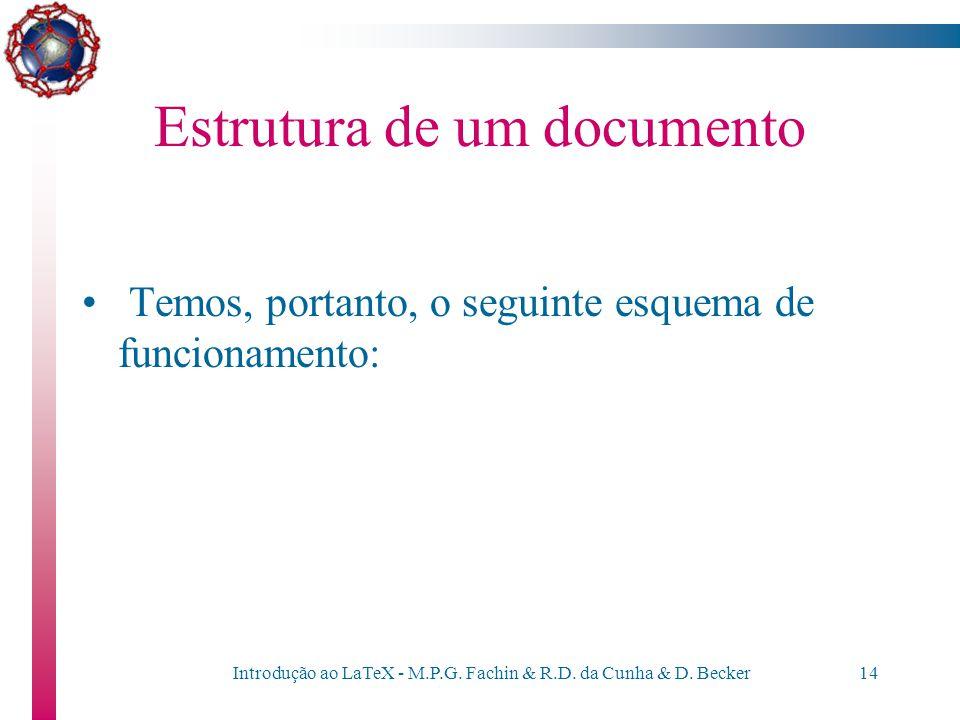 """Introdução ao LaTeX - M.P.G. Fachin & R.D. da Cunha & D. Becker13 Estrutura de um documento Sobre o arquivo com extensão """".dvi"""" são executados, poster"""