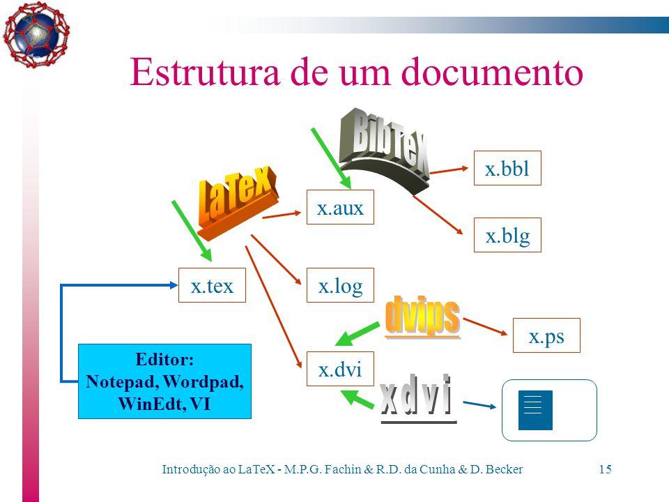 Introdução ao LaTeX - M.P.G. Fachin & R.D. da Cunha & D. Becker14 Estrutura de um documento Temos, portanto, o seguinte esquema de funcionamento: