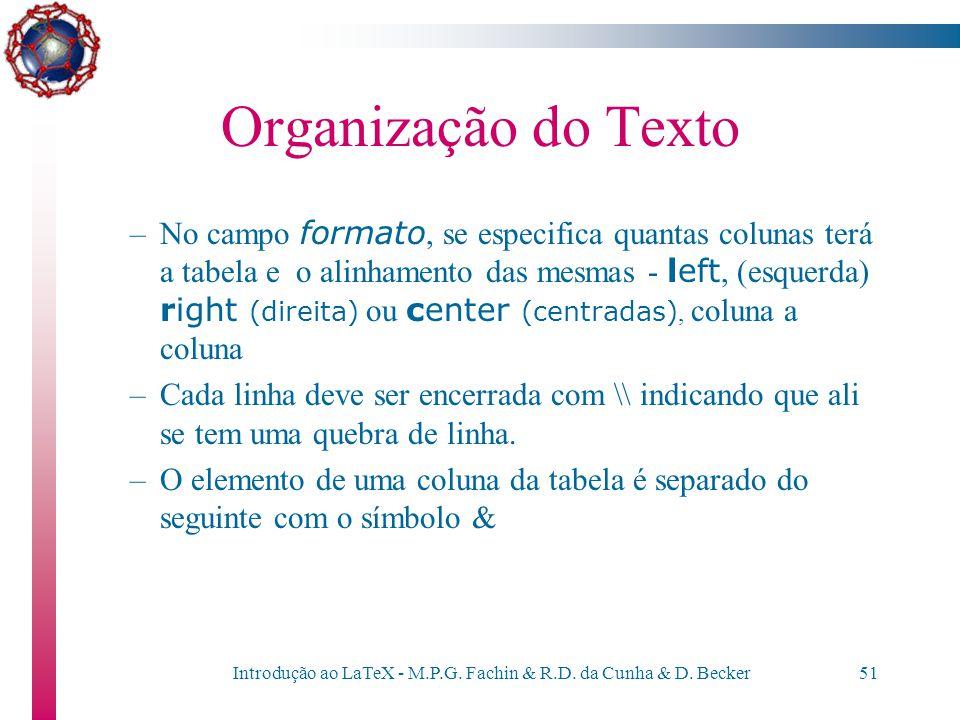Introdução ao LaTeX - M.P.G. Fachin & R.D. da Cunha & D. Becker50 Organização do Texto –Exemplo do comando tabular \begin{tabular}{lrcr} Produto & Val