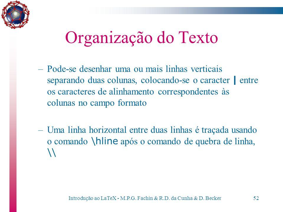 Introdução ao LaTeX - M.P.G. Fachin & R.D. da Cunha & D. Becker51 Organização do Texto –No campo formato, se especifica quantas colunas terá a tabela
