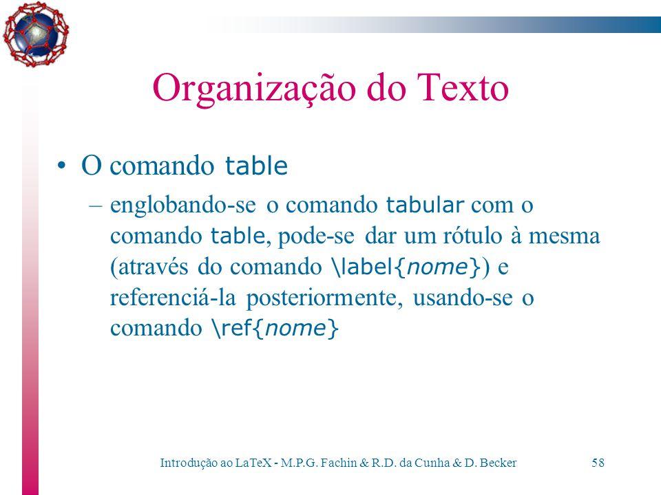 Introdução ao LaTeX - M.P.G. Fachin & R.D. da Cunha & D. Becker57 Organização do texto Obs: as tabelas são alinhadas normalmente à esquerda da página.