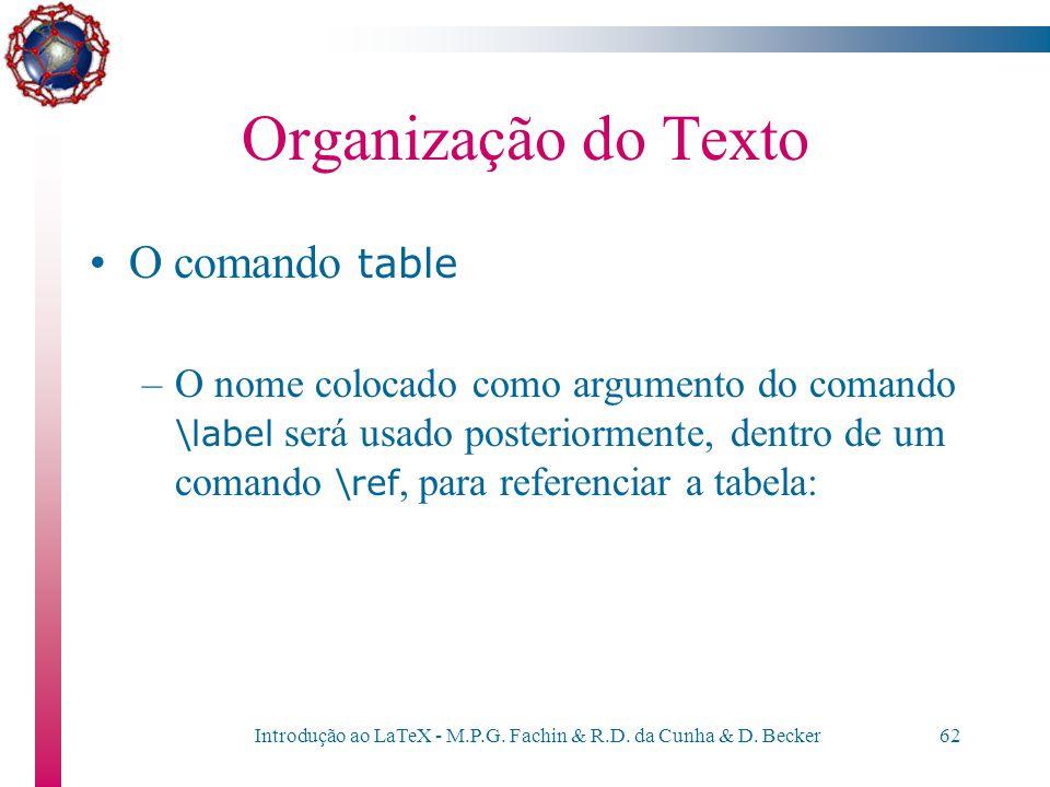 Introdução ao LaTeX - M.P.G. Fachin & R.D. da Cunha & D. Becker61 Organização do Texto O comando table –No comando \caption{}, coloca-se a legenda rel