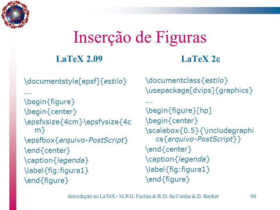 Introdução ao LaTeX - M.P.G. Fachin & R.D. da Cunha & D. Becker95 Inserção de Figuras Os comandos para se incluir uma figura PostScript dependem da ve