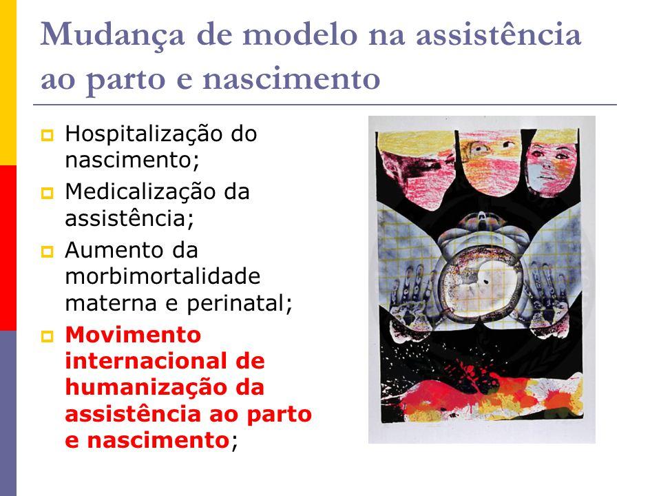 Mudança de modelo na assistência ao parto e nascimento  Hospitalização do nascimento;  Medicalização da assistência;  Aumento da morbimortalidade m
