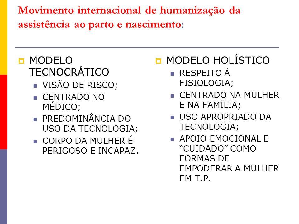 Movimento internacional de humanização da assistência ao parto e nascimento:  MODELO TECNOCRÁTICO VISÃO DE RISCO; CENTRADO NO MÉDICO; PREDOMINÂNCIA D
