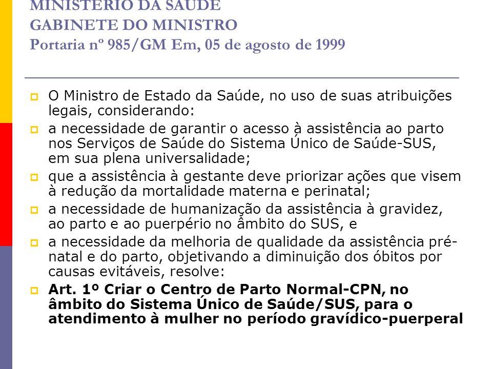 MINISTÉRIO DA SAÚDE GABINETE DO MINISTRO Portaria nº 985/GM Em, 05 de agosto de 1999  O Ministro de Estado da Saúde, no uso de suas atribuições legai