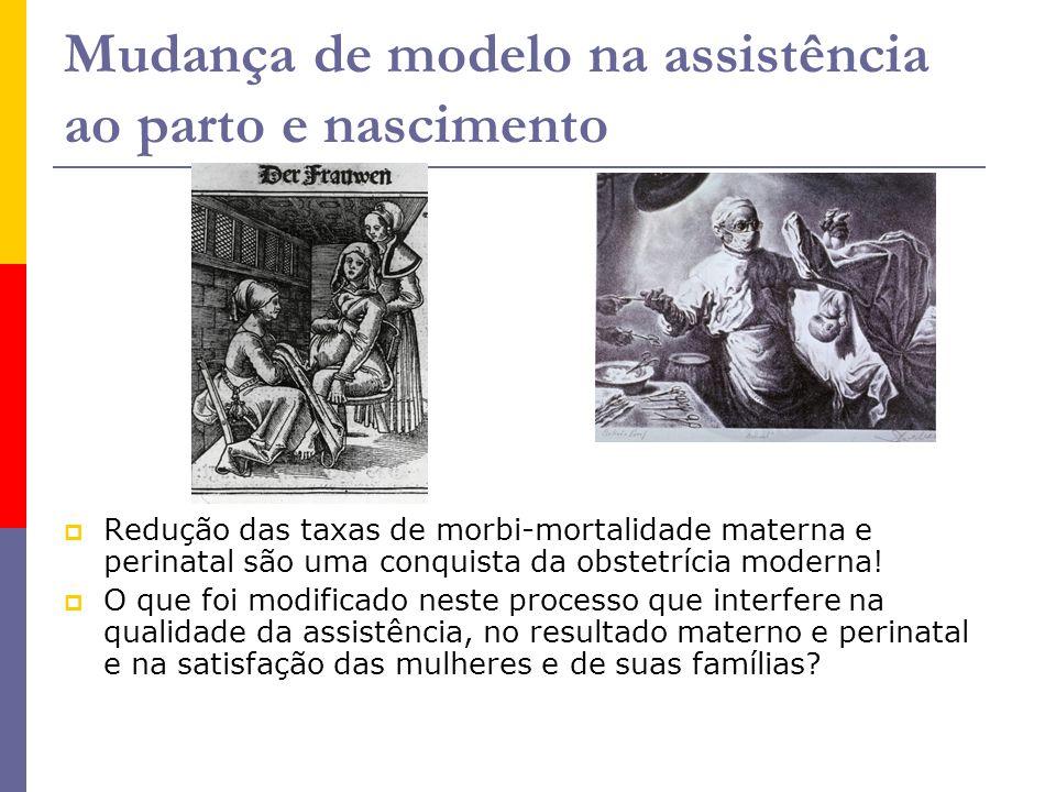 Mudança de modelo na assistência ao parto e nascimento  Redução das taxas de morbi-mortalidade materna e perinatal são uma conquista da obstetrícia m