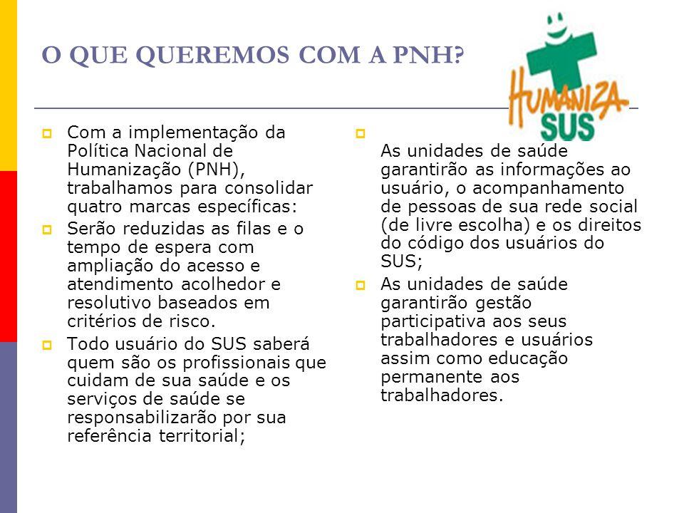 O QUE QUEREMOS COM A PNH?  Com a implementação da Política Nacional de Humanização (PNH), trabalhamos para consolidar quatro marcas específicas:  Se