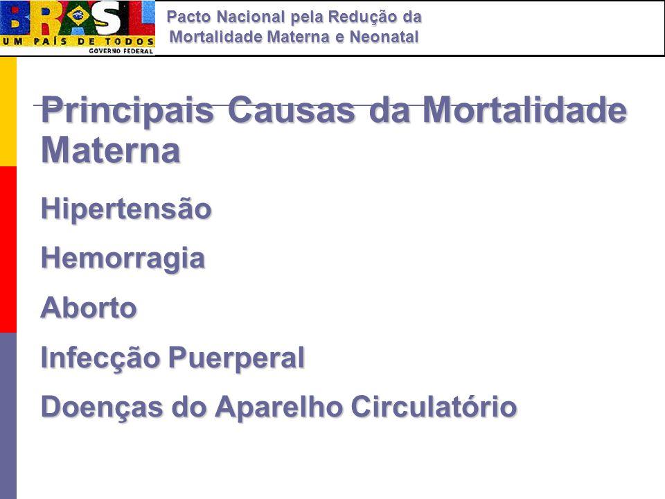 Principais Causas da Mortalidade Materna HipertensãoHemorragiaAborto Infecção Puerperal Doenças do Aparelho Circulatório Pacto Nacional pela Redução d
